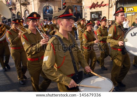 JER - OCT 02:IDF Military band play in Jerusalem March on Oct 02 2007.It's a traditional procession held every year during Sukkot Jewish holiday.