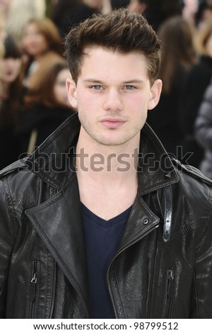 Jeremy Irvine arriving for the Burberry Prorsum fashion show as part of London Fashion Week 2012 A/W in Kensington Gardens, London. 20/02/2012 Picture by: Steve Vas / Featureflash