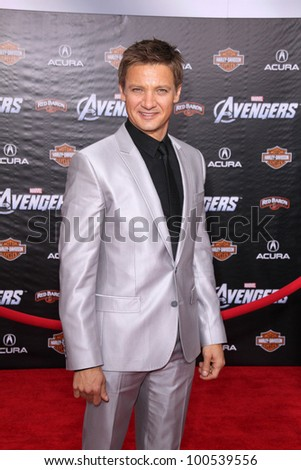 "Jeremy Renner at the ""Marvel's The Avengers"" Los Angeles Premiere, El Capitan Theatre, Hollywood, CA 04-11-12 - stock photo"