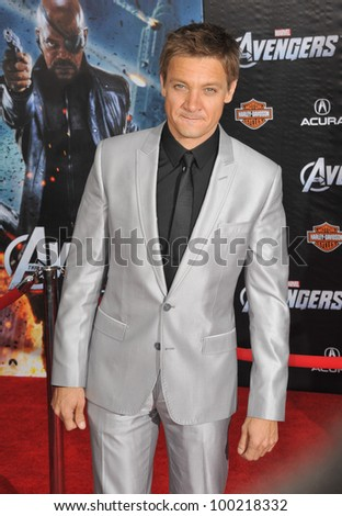 "Jeremy Renner at the world premiere of his new movie ""Marvel's The Avengers"" at the El Capitan Theatre, Hollywood. April 11, 2012  Los Angeles, CA Picture: Paul Smith / Featureflash - stock photo"