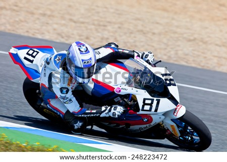 JEREZ DE LA FRONTERA, SPAIN - APR 17: Stock Extreme motorcyclist Eduardo Salvador takes a curve in the CEV Championship race on April 17, 2011 in Jerez de la Frontera, Spain - stock photo