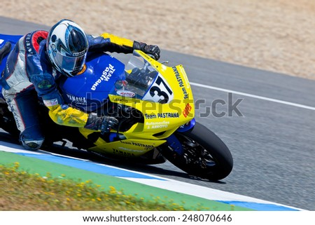 JEREZ DE LA FRONTERA, SPAIN - APR 17: Stock Extreme motorcyclist Jorge Arroyo takes a curve in the CEV Championship race on April 17, 2011 in Jerez de la Frontera, Spain - stock photo