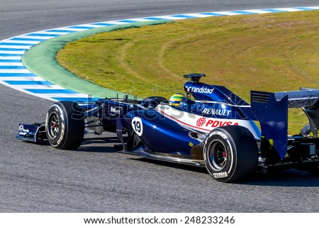 JEREZ DE LA FRONTERA, SPAIN - FEB 10: Bruno Senna of Williams F1 races on training session on February 10 , 2012, in Jerez de la Frontera , Spain - stock photo
