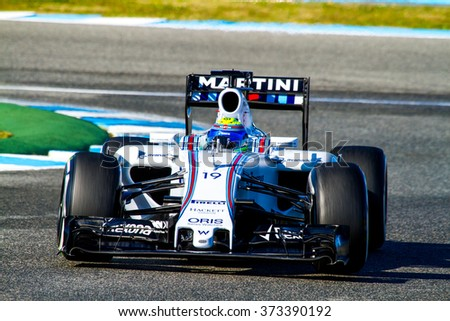 JEREZ DE LA FRONTERA, SPAIN - FEB 04:  Felipe Massa of Williams Martini Racing F1 Team races on training session on February 04 , 2015, in Jerez de la Frontera , Spain - stock photo