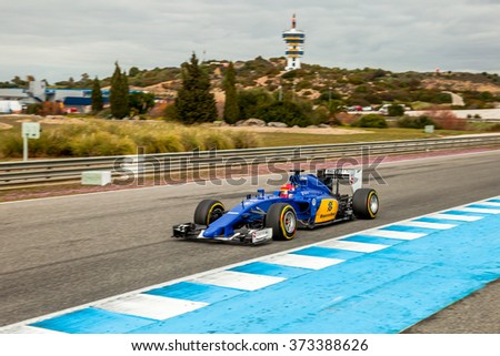 JEREZ DE LA FRONTERA, SPAIN - FEB 03:  Felipe Nasr of Sauber MotorSport F1 Team races on training session on February 03 , 2015, in Jerez de la Frontera , Spain - stock photo