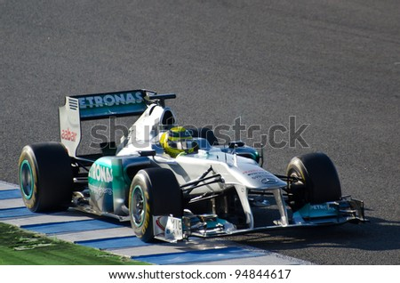 JEREZ DE LA FRONTERA, SPAIN  FEB 09:  Nico Rosberg of Mercedes-AMG team drives his F1 car during training session at Jerez circuit on February 09, 2012, in Jerez de la Frontera , Spain - stock photo