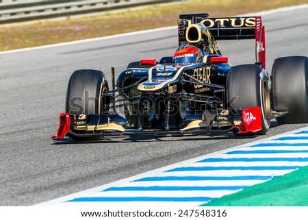 JEREZ DE LA FRONTERA, SPAIN - FEB 10: Romain Grosjean of Lotus Renault F1 races on training session on February 10 , 2012, in Jerez de la Frontera , Spain - stock photo