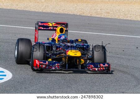 JEREZ DE LA FRONTERA, SPAIN - FEB 10: Sebastian Vettel of Red Bull F1 races on training session on February 10 , 2012, in Jerez de la Frontera , Spain - stock photo