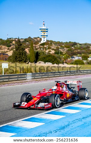 JEREZ DE LA FRONTERA, SPAIN - FEB 01:  Sebastian Vettel of Scuderia Ferrari F1 races  on training session on February 01 , 2015, in Jerez de la Frontera , Spain - stock photo