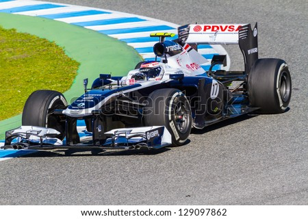 JEREZ DE LA FRONTERA, SPAIN - FEB 08: Valtteri Bottas of Williams F1 Team races on training session on February 08 , 2013, in Jerez de la Frontera , Spain - stock photo