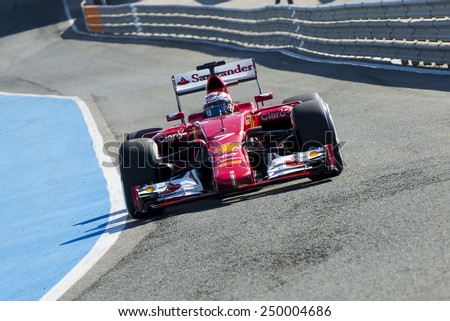JEREZ DE LA FRONTERA, SPAIN - FEBRUARY 04: Kimi Raikkonen pilot of the team Ferrari in test Formula 1 in Circuito de Jerez on feb 04, 2015 in Jerez de la frontera