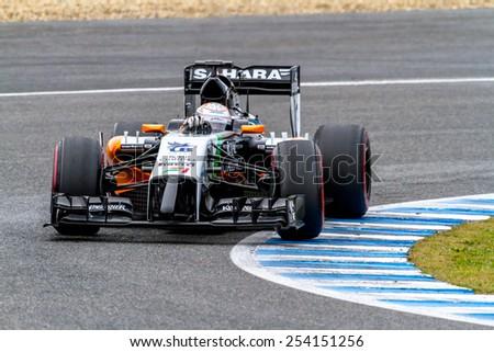 JEREZ DE LA FRONTERA, SPAIN - JAN 31: Daniel Juncadella of Force India F1 races on training session on January 31 , 2014, in Jerez de la Frontera , Spain - stock photo