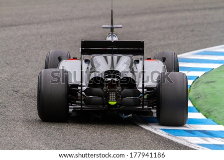 JEREZ DE LA FRONTERA, SPAIN - JAN 31:  Kevin Magnussen of McLaren F1 races on training session on January 31 , 2014, in Jerez de la Frontera , Spain - stock photo