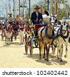 JEREZ DE LA FRONTERA, SPAIN-MAY 12:People in carriage horses walking in the royal house of the fair on the horse fair the day May 12, 2012 in Jerez de la Frontera, Spain. - stock photo