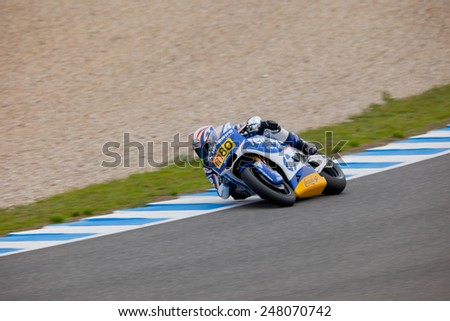 JEREZ DE LA FRONTERA, SPAIN - NOV 20: MOTO2 motorcyclist Axel Pons takes a curve in the CEV championship on Nov 20, 2010, in Jerez de la Frontera, Spain - stock photo