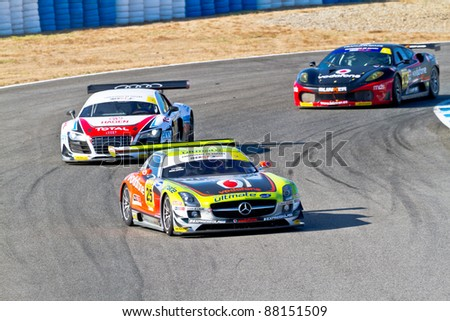 JEREZ DE LA FRONTERA, SPAIN - OCT 16: Jose Pedro Fontes 25 followed by Joao Figueiredo 21 and Joao Ramos 10 races on Iber GT championship on October 16 , 2011, in Jerez de la Frontera , Spain