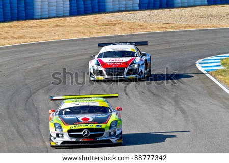 JEREZ DE LA FRONTERA, SPAIN - OCT 16: Jose Pedro Fontes , Mercedes 25 followed by Joao Pedro Figueiredo, Audi 21, races on Iber GT championship on October 16 , 2011, in Jerez de la Frontera , Spain