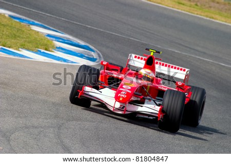 JEREZ DE LA FRONTERA, SPAIN - OCT 10: Luca Badoer of Scuderia Ferrari F1 races in a training session on October 10, 2006 in Jerez de la Frontera, Spain - stock photo