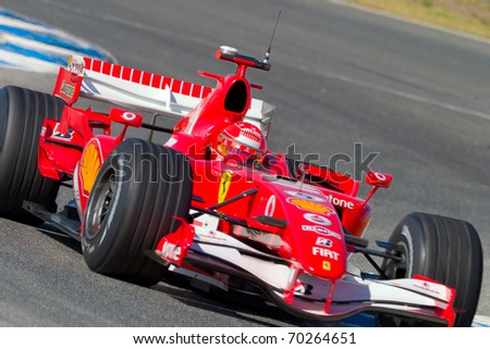 JEREZ DE LA FRONTERA, SPAIN -  OCT 11: Michael Schumacher of Scuderia Ferrari F1 on October 11 , 2006 on training session in Jerez de la Frontera , Spain - stock photo