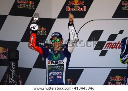 JEREZ - SPAIN, APRIL 24: Spanish Yamaha rider Jorge Lorenzo finishes second at 2016 Red Bull MotoGP of Spain at Jerez circuit on April 24, 2016 - stock photo