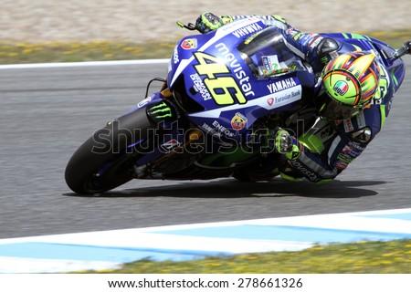 JEREZ - SPAIN, MAY 1: Italian Yamaha rider Valentino Rossi at 2015 Bwin MotoGP of Spain at Jerez circuit on May 1, 2015 - stock photo