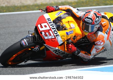 JEREZ - SPAIN, MAY 2: Spanish Honda rider Marc Marquez at 2014 Bwin MotoGP of Spain at Jerez circuit on May 3, 2014