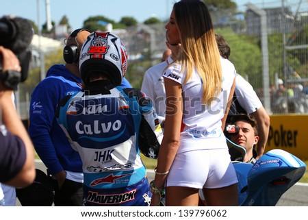 JEREZ - SPAIN, MAY 5: Spanish KTM Moto3 rider Maverick Vinales on the grid at the 2013 Bwin MotoGP of Spain at Jerez circuit on May 5, 2013 - stock photo