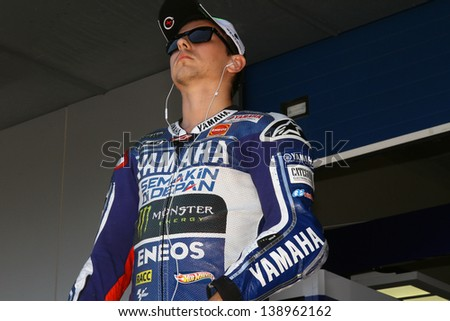 JEREZ - SPAIN, MAY 4: Spanish Yamaha rider Jorge Lorenzo during practice at 2013 Bwin MotoGP of Spain at Jerez circuit on May 4, 2013