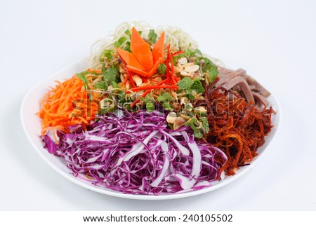 Jerky (dried beef)  and pork bologna salad isolated on white disk so called GOI KHO BO as  typical Vietnamese junk food. - stock photo
