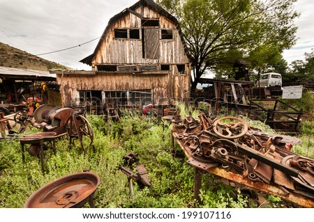 Jerome Arizona Ghost Town western house and trash - stock photo