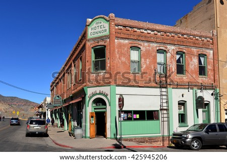 JEROME, AZ, USA - FEB 24, 2016:  Main Street in Jerome featuring the historic Connor Hotel and Caduceus Cellars.  Jerome was once a prosperous mining town and is now a national historic landmark. - stock photo