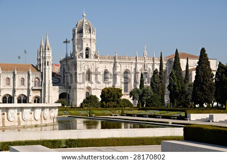 Jeronimos Monastery (Mosteiro dos Jeronimos). It?s located in the famous Belem area (UNESCO World Heritage) near the Belem Tower. Point of interest in Lisbon, Portugal.