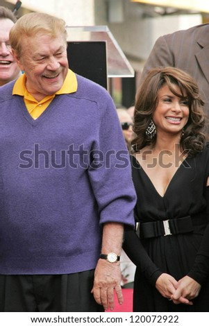 Jerry Buss and Paula Abdul at the Ceremony Honoring Los Angeles Lakers Owner Jerry Buss with the 2,323rd star on the Hollywood Walk of Fame. Hollywood Boulevard, Hollywood, CA. 10-30-06 - stock photo