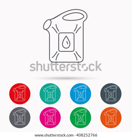 Jerrycan icon. Petrol fuel can with drop sign. Linear icons in circles on white background. - stock photo