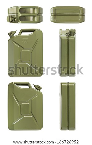 Jerrycan. Set of all projections. Isolated on white. - stock photo