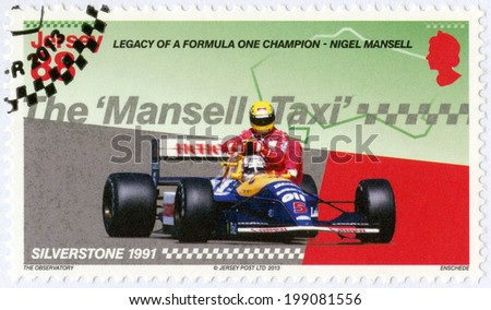 JERSEY - CIRCA 2013: A stamp printed in Jersey dedicated Nigel Mansell, Mansell on the victory lap at the 1991 British Grand Prix gives Artyon Senna a lift to the paddock, circa 2013 - stock photo