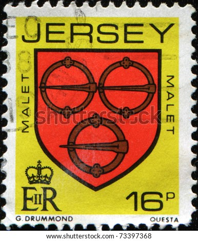 JERSEY - CIRCA  1985: A stamp printed in Jersey shows coat of arms of Malet family - 3 metal clasps or a crescent for difference, circa 1985