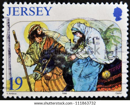 JERSEY - CIRCA 1996: A stamp printed in Jersey shows escape to Egypt, circa 1996