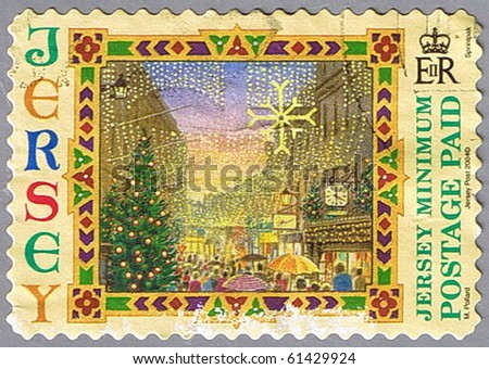 JERSEY - CIRCA 2004: A stamp printed in Jersey shows Street with Christmas decorations, series, circa 2004