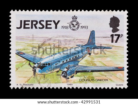 JERSEY - CIRCA 1993: mail stamp celebrating 75 years of the Royal Air Force, circa 1993