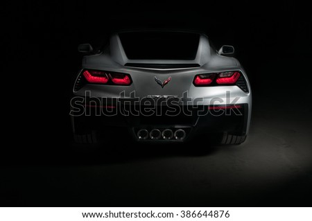 Jersey City,NJ - June 2015 - Photographing all the curves of the new Stingray Corvette rear end - stock photo
