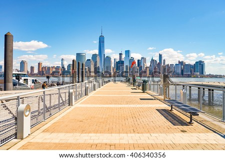 JERSEY CITY, NJ - MARCH 21, 2016: View of New York from Jersey City, New Jersey. The City of New York, often called New York City or simply New York, is the most populous city in the United States. - stock photo