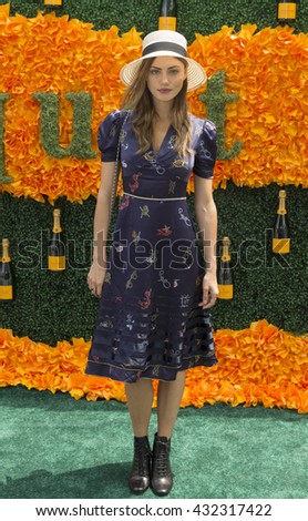 Jersey City, NJ USA - June 4, 2016: Phoebe Tonkin attends 9th annual Veuve Clicquot Polo Classic at Liberty State Park - stock photo