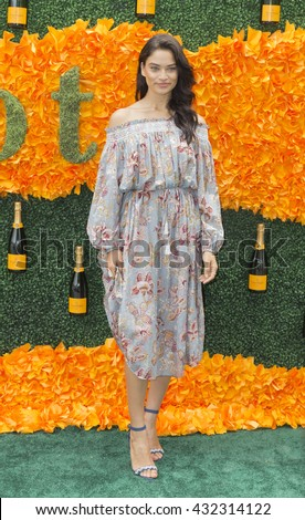 Jersey City, NJ USA - June 4, 2016: Shanina Shaik attends 9th annual Veuve Clicquot Polo Classic at Liberty State Park - stock photo