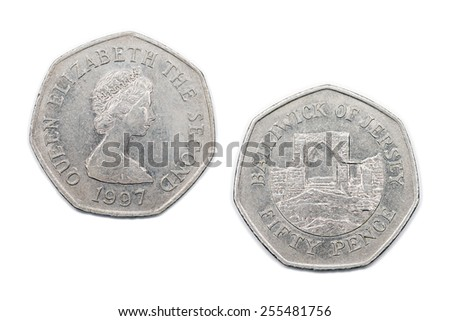 Jersey Fifty pence coin from 1997. - stock photo