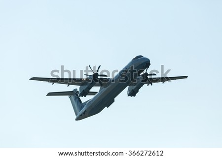 Jersey, UK - May 23: Take Off Flybe plane from the airport on the island of Jersey, UK on May 23, 2015