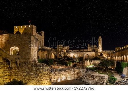 Jerusalem at night - stock photo