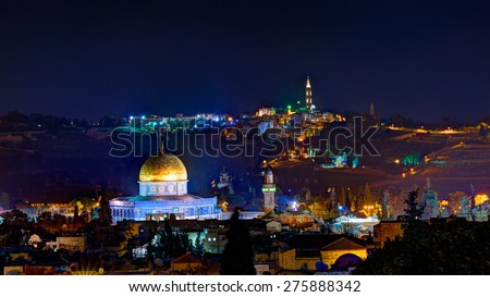 Jerusalem at night with the Al-Aqsa Mosque and the Mount of Olives - stock photo