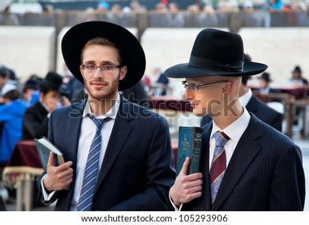 JERUSALEM,ISRAEL-APRIL 27:Unidentified jewish praying at the western wall on a jewish holiday on April 27. 2012.Jerusalem,Israel.April 27 celebrated as day when the state of Israel was proclaimed - stock photo
