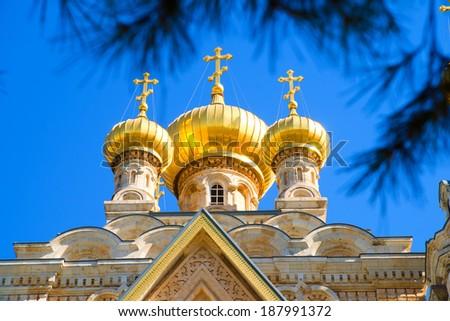 Jerusalem, Israel - Cupola of Maria Magdalena's Orthodox Church - stock photo